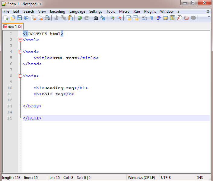 Enter HTML program in Notepad++