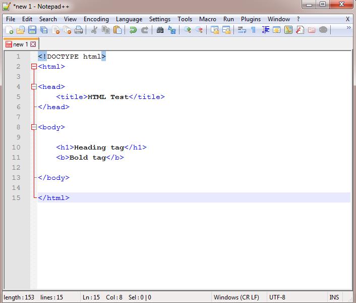 Enter HTML program in Notepad++